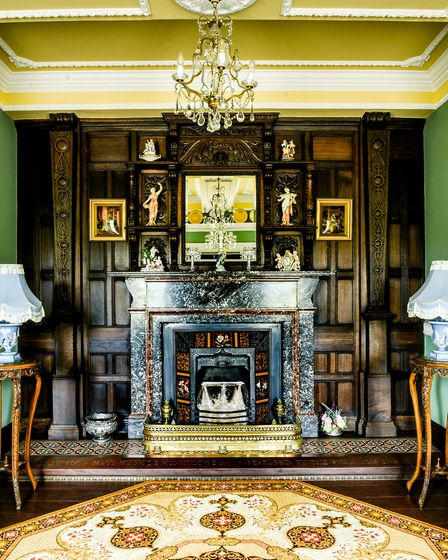 Grand fireplaces adorn almost every room in the Hall, all discovered at auctions. Photo: Fiona Bail