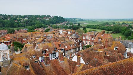 Looking down on the tiled rooftops of the historic Cinque Port town of Rye in East Sussex (c) newsfo