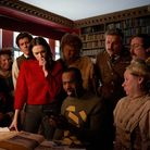 Ghosts ensenble in the library. Image: Steven Preskett / Monumental Television / BBC