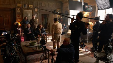 Cast and crew filming Ghosts at West Horsley Place. Image: Steven Preskett / Monumental Television /