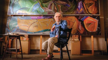 Artist John Hitchens at his studio near Petworth, West Sussex . Photo: Jim Holden