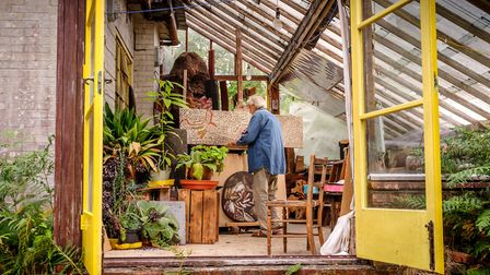Artist John Hitchens at his studio near Petworth, West Sussex. Photo: Jim Holden
