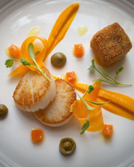 The scallop dish courtesy of Restaurant Hywel Jones. Image Nathan Rollinson