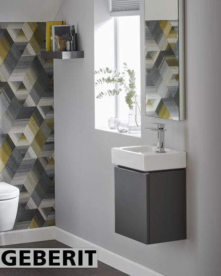 Geberit iCon cloakroom in Lava Matt featuring 380mm handrinse basin RH rap hole £97.27, washbasin 3
