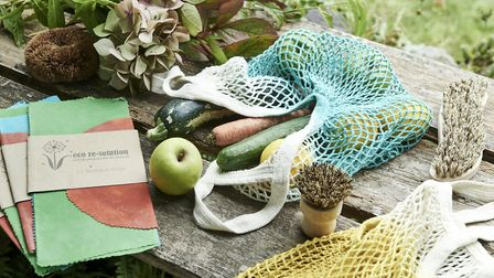 Homemade beeswax food wraps, plastic free shopping bags and vegetable scrubbing brushes with plant-b