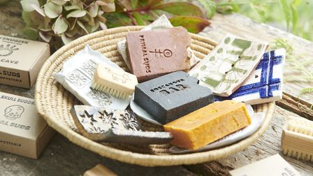 Jacqueline's handmade ceramic soap dishes, nail brushes for adults and children! Photo: Tom Hargreav