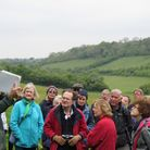 Surrey Hills Society members learning about Farthing Downs environmental management from Ranger, Dom