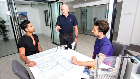 Kunal and Thomas meet with Ian Grimshaw at the Clear Living showroom Photo: Amir Shah