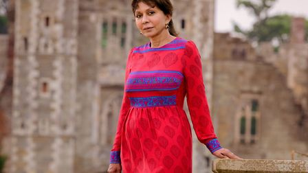 Lalita Russell-Smith wearing a dress from her own limited edition range. Photo: Jim Holden