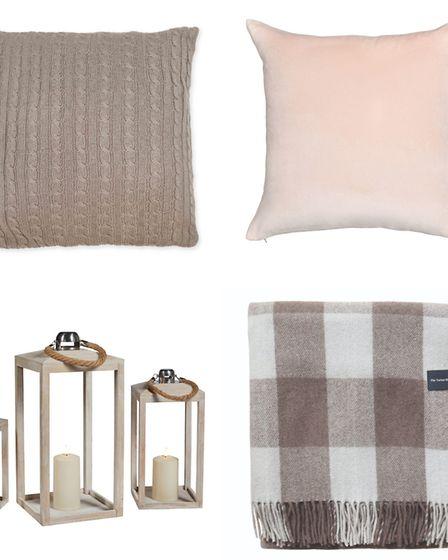 Clockwise from top: Cable knit cushion cover, £11.99, homescapesonline.com; Niki Jones velvet cushio