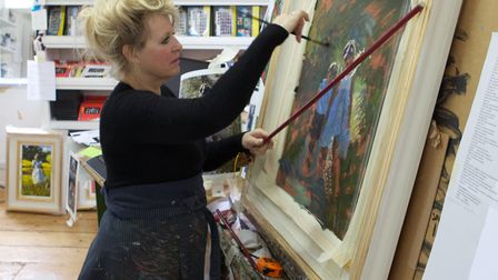 Sherree painting at home. Image: Stephen Pover Photography