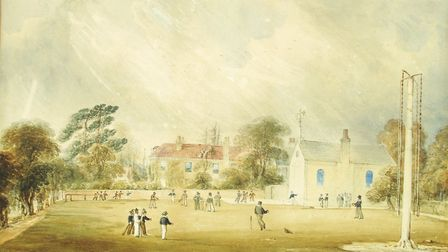 A watercolour of boys playing cricket at Twyford Prep School in 1846 by drawing master C G Hart. The