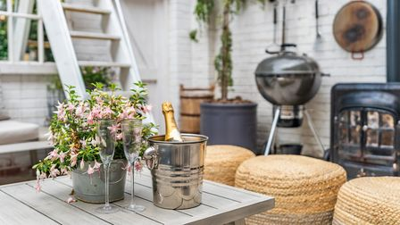 The ultimate outside entertaining space: woodburning stove, barbecue, assorted seating and bottle of