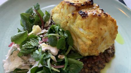 Spiced monkfish, curried lentils and cauliflower salad was a fabulous main course. Photo: Andy Coope