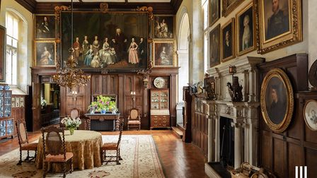 The Elizabethan great hall contains decoration from Henry VIIIs palace at Nonsuch. The panelling com