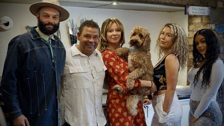 Craig Charles at home in Cheshire with his wife Jackie, children Jack, Anna-Jo and Nellie and dog Zi