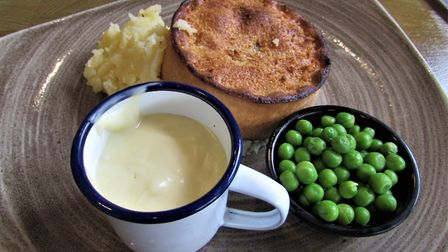 A meal fit for a farmer at the Farmers Arms: cheese and onion pie with mash, peas and cheese sauce