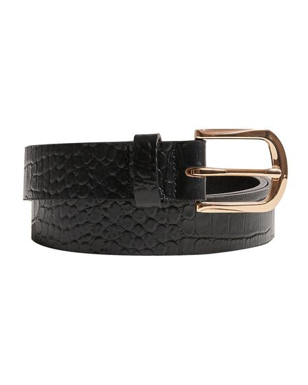 Black Croc Leather Belt with Gold Keeper, 32, oliverbonas.com