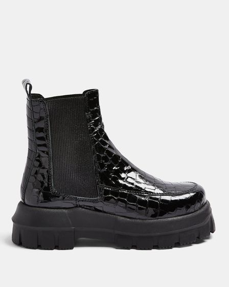 ALPHA Black Crocodile Chunky Leather Chelsea Boots, £95.99, topshop.com