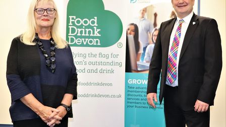 Barbara King, Chair of Food Drink Devon, and Stuart Elford from Devon & Plymouth Chamber of Commerce