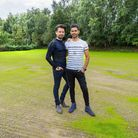 Thomas and Kunal on their slightly patchy rear lawn, which after a third sowing, and hopefully no mo