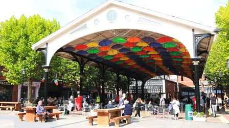 Eat under the umbrellas at the Golden Square in Warrington. Photo: Kirsty Thompson