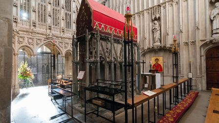 Shrine of St Alban. The abbey was built on the supposed hill of his execution by Roman officials, br