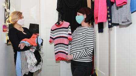 Kate and Lesley meet in the dressing room to start the huge task of a wardrobe declutter.