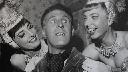 Jill with Bruce Forsyth and another cast member on stage. Photo: Jill Webber