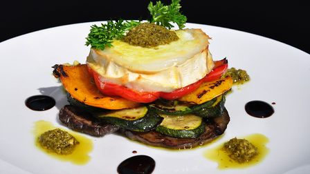 Melted goat's cheese starter with grilled aubergines, Herons, Chorleywood (photo: Brian Arnopp Image