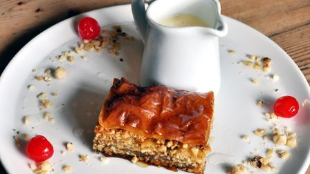 Baklava with nuts, hazelnut glaze, cherries and crème Anglaise (photo: Brian Arnopp Images)