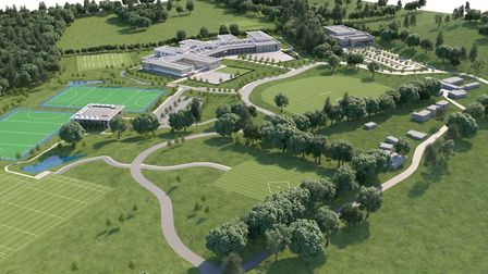 A CGI aerial view of the new school and grounds at King's Macclesfield