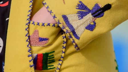 Hove-based vintage dealer Donna Grimaldi, owner of Bobby and Dandy, pictured in a hand-embroidered M