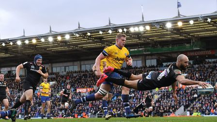 Olly Woodman soars over the line to score a remarkable try against Bath at Sandy Park in March 2020.