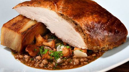 Northcote's truffle and brioche stuffed roast chicken, served with leg Bolognese, wild mushrooms and