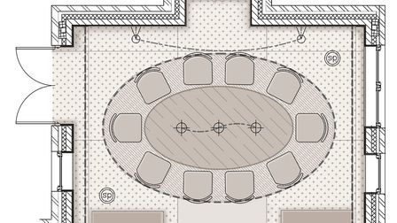 Every room design starts with a CAD drawing of the physical layout