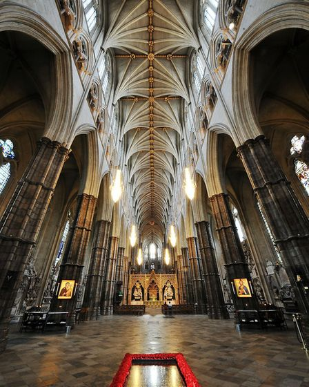 The nave of Westminster Abbey with the Grave of the Unknown Warrior