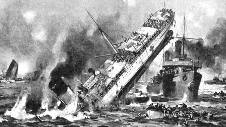 A period illustration of the sinking of the hospital ship Anglia by a German mine in the Channel. Ma