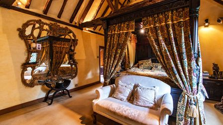 Many of the rooms at Tanyard Farm have beamed, vaulted ceilings. Image: Sotheby's International Real