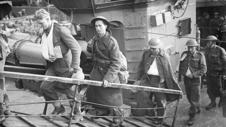 Wounded British soldiers, evacuated from Dunkirk, arrive at Dover, 31 May 1940 War Office official