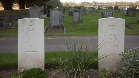 United in death: the cemetery near to the site of RAF Hawkinge