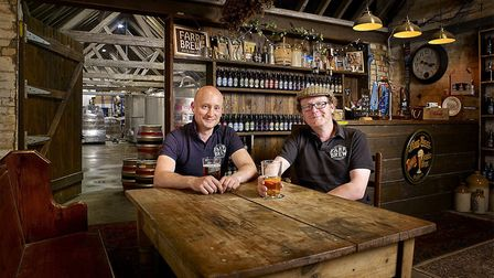 Owners of Farr Brew, Nick Farr and Matt Elvidge in The Brewery Tap Room. Image: Chris Fraser Smith