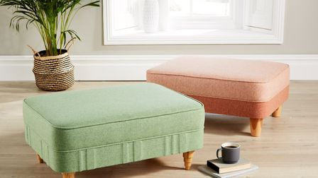 This ottoman duo, in apple and sandstone wool, demonstrates that even the most traditional of furnit