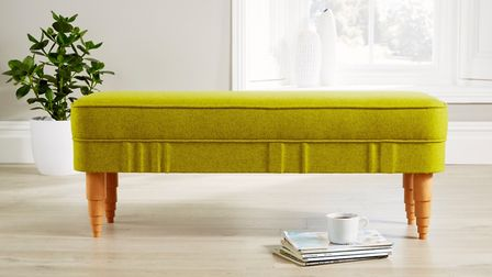 This smart bench seat in lemon wool will brighten any hallway