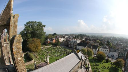 Fantastic views from the roof of the bell tower of Ottery St Mary parish church. Photo: Simon Horn