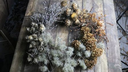 A delicately-coloured dried wreath