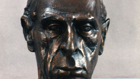 A 1990s bronze bust of John Piper by artist Geoffrey Eastop, with whom Piper collaborated. It sits i