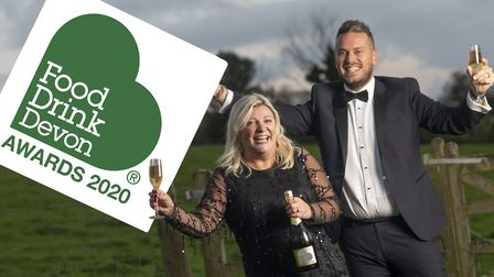 Devon food and drink champion Kerry White and board member Tom Chartres-Moore of Stephens Scown virt