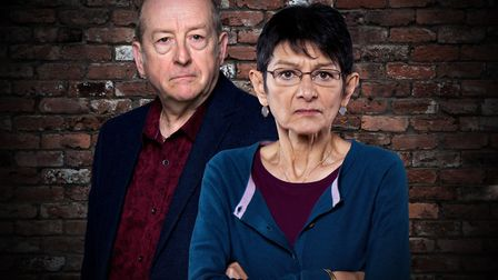 Ian Bartholomew as Geoff Metcalfe and Shelley King as his wife Yasmeen in Coronation Street Photo: I