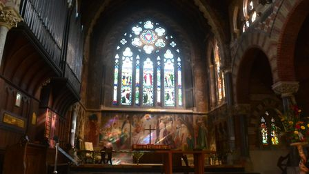 Discover fine art in the parish church with a fresco by Sir Frederic Leighton and feature windows by